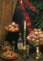 De huiselijke haard I. - By the fireside I. Doughnut balls are a traditional New Year's Eve delicacy in Holland.