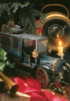 Een oude blauwe bestelwagen. - An old blue delivery van. One of the tinplate toys from the Twenties.
