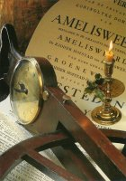 Een mahoniehouten landmeterswiel uit 1801. Het veilingbiljet dateert uit 1810. - A surveyor's wheel used in the early 19th century and an auction poster for the sale of Amelisweerd, a royal property.