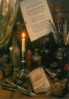 De Schilder. De nieuwjaarswens is een eeuw oud. - Some old painting tools and materials together with a century old new year's wish.