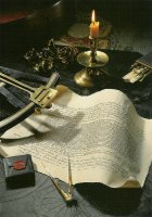 De oudst bekende Hollandse zeeverzekeringspolis (1592), een kapiteinsbestek en een oktant. - The oldest known Dutch nautical insurance policy dating from 1592 and some old captains' utensils.