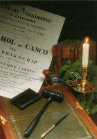 Openbare Verkooping van het casco van het brikschip 'Amsterdam' in het jaar 1834 door notaris Cornelis Gerlings. - Public Sale of the brig ship 'Amsterdam' in the year 1834.