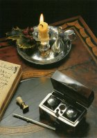 The Script; with a traveller's writing set in silver and tortoise-shell of 1775.