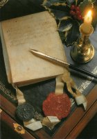 The Script; with a writing box and a deed of conveyance on parchment with two seals dating from 1723.