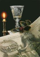 Radgravure op glas: 'Op het Welvaaren van de Goede Negotie'. Ca. 1760. Gravure uit: 'Het Tafereel der Dwaasheid', 1720. - Wheel-engraving on glass: 'To the prosperity of good trading'. Around 1760.